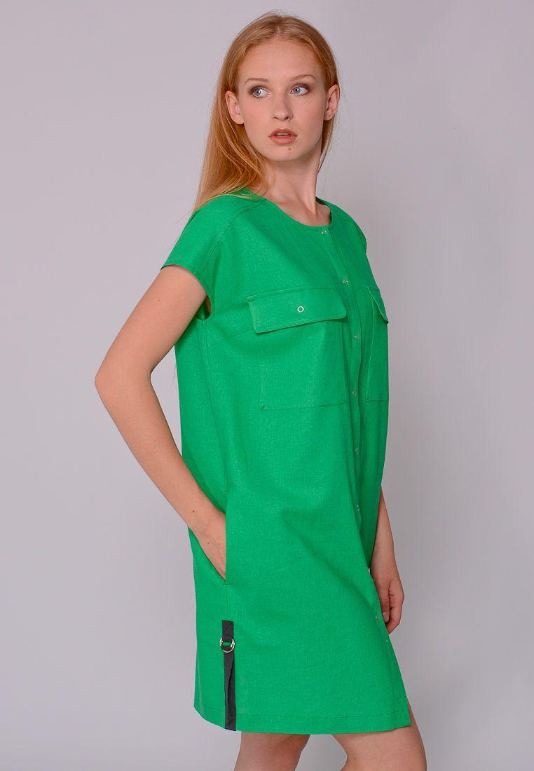 638672230ae Платье-рубашка зеленый лен 17-06-004-2